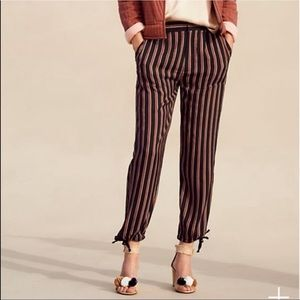 Anthropologie Jogger Striped Pant Tie Bottom